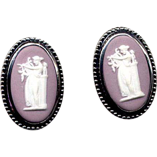 Sterling Silver Mauve Wedgwood Cameo Clip Earrings