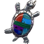 Native American Zuni Sterling Inlay Turtle Pendant