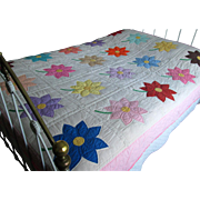 Vintage Hand-Made Star-Flower Appliqued Quilt