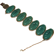 Vintage Mexican Silver Link Bracelet with Green Onyx Stones