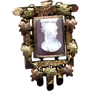 Victorian Gold-Filled Stone Cameo Pin or Pendant