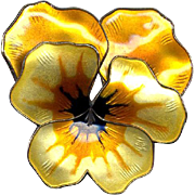 Large Norway D-A Sterling & Yellow Enamel Pansy Pin