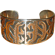 Heavy Mexican Silver Native Artisan Cuff Bracelet