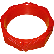 Chunky Vintage Carved Red Bakelite Bangle