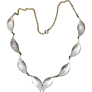 Norway Sterling D-A White Enamel Leaf Necklace