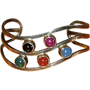Mexican Silver Cuff Bracelet with Gemstones