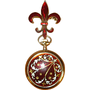Gold-Filled Ladies' Red Enamel Fob Watch and Pin Set