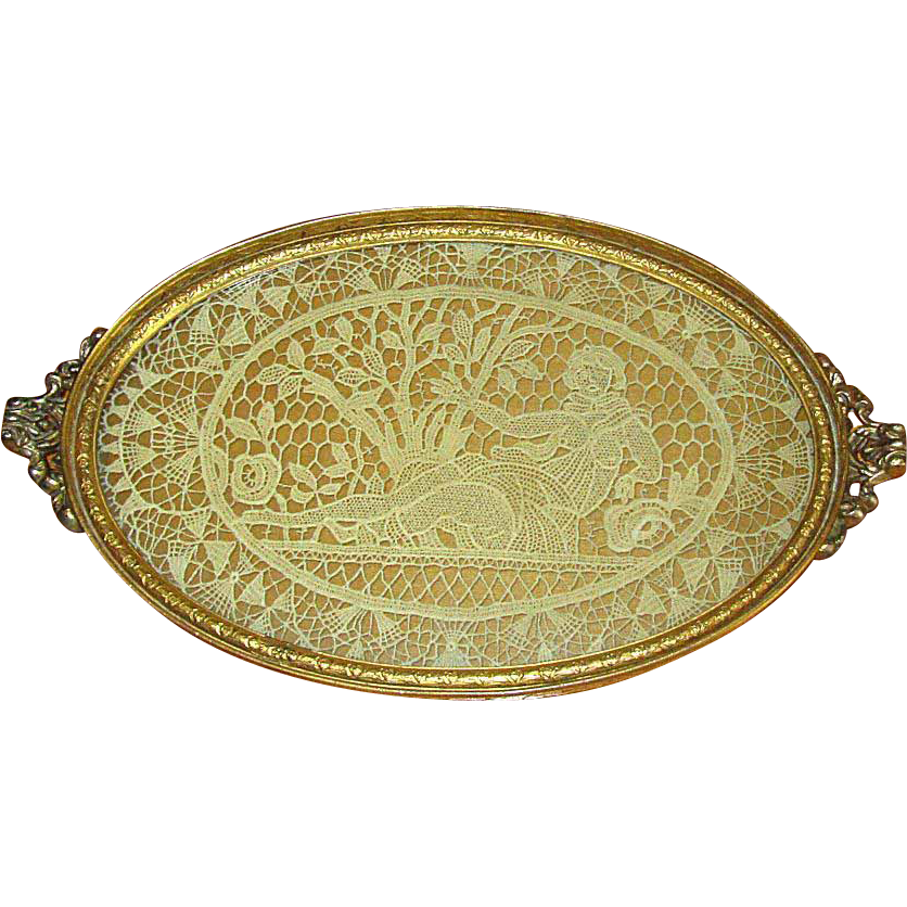Small Vintage Brass Dresser Tray with Lace Insert