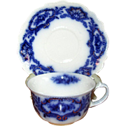 """English Flow Blue """"Alaska"""" Teacup with Saucer"""
