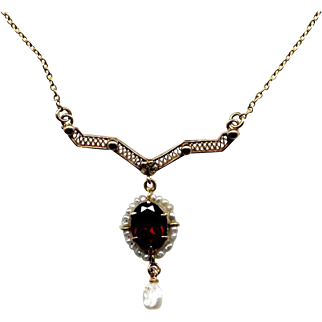 10K Gold Pendant Necklace with Garnet and Pearls