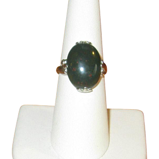 Vintage Sterling Silver & Bloodstone Ring
