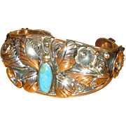 Mexican Silver Cuff Bracelet with Butterfly