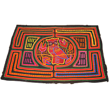Reverse Applique Panamanian Mola with Owl