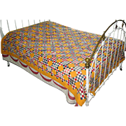 "Vintage Handmade ""Double Nine-Patch"" Patchwork Quilt"