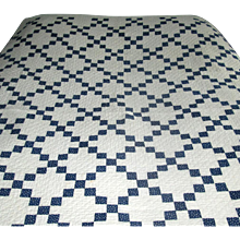 "Antique Calico ""Nine-Patch"" Navy-Blue and White Patchwork Quilt"