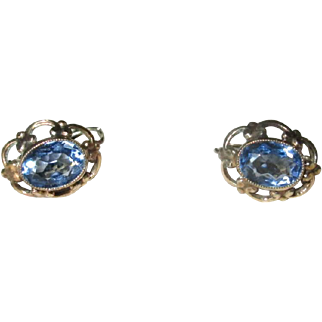 14K Gold Lever-Back Earrings with Blue Topaz Stones