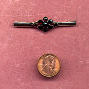 English 9K Bar Pin with Rose-Cut Garnets