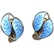 D-A Norway Silver & Blue Enamel Clip Earrings