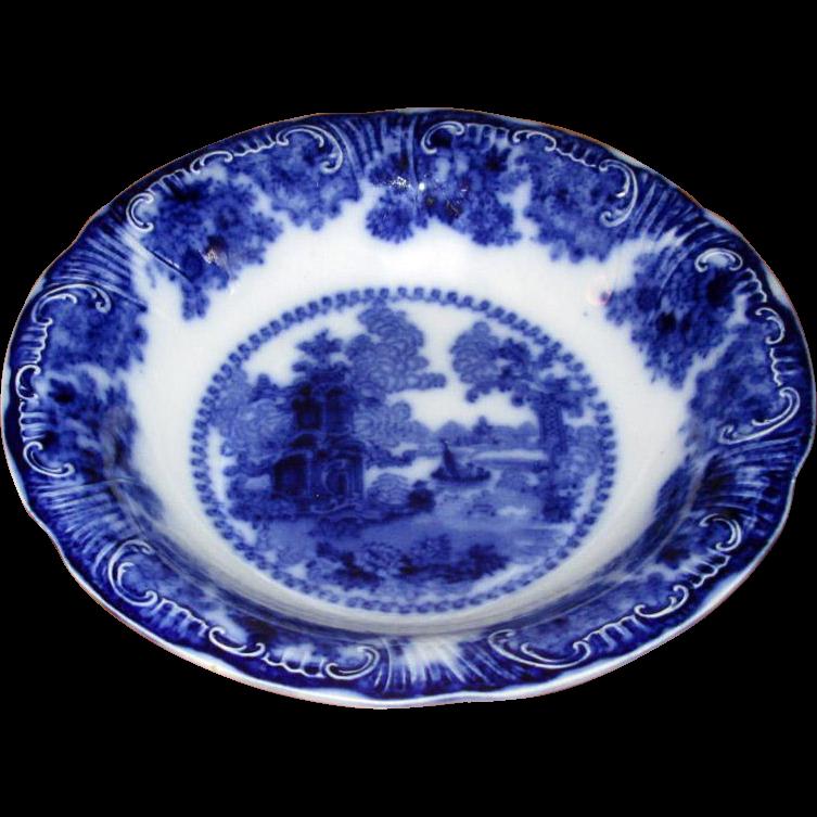 "English Flow Blue Adams ""Fairy Villas"" Serving Bowl"