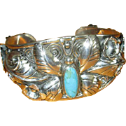 Sterling Silver Cuff Bracelet with Butterfly and Turquoise