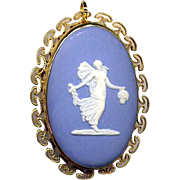 Gold-Filled Blue & White Wedgwood Cameo Pin or Pendant