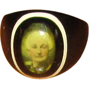 Vintage Plastic Celluloid Photograph Portrait Ring
