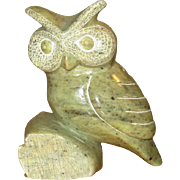 Canadian First Nation Tsawout Carved Soapstone Owl Figure