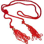Long Red Lariat Flapper Beads with Venetian Glass