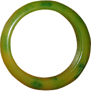 Green and Yellow Catalin Bakelite Bangle Bracelet