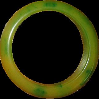 Green and Yellow Catalin Bakelite Bangle Bracelet