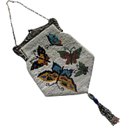 Large Beaded Handbag with Butterflies