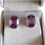 14K Gold Post Earrings with Large Amethysts