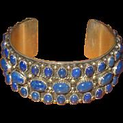 Native American Sterling & Lapis Cuff Bracelet