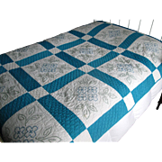 Vintage Embroidered Quilt in Bright Turquoise