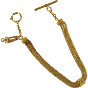Victorian Gold-Filled Watch Chain with Slide and Attachments