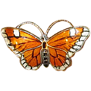 Norway Sterling & Guilloche Enamel Butterfly Pin