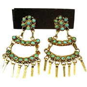 Sterling & Turquoise Zuni Chandelier Screw-Back Earrings