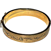 Gold-Filled Bangle Bracelet with Black Enamel Decoration