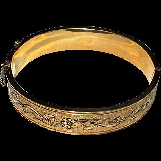 Gold-Filled Bangle Bracelet with Black Enamel Decoration