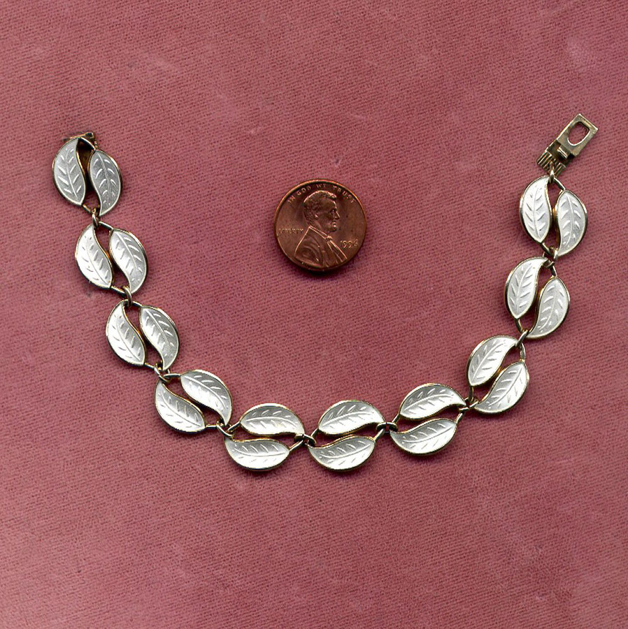 D-A David Andersen of Norway White Enamel Bracelet