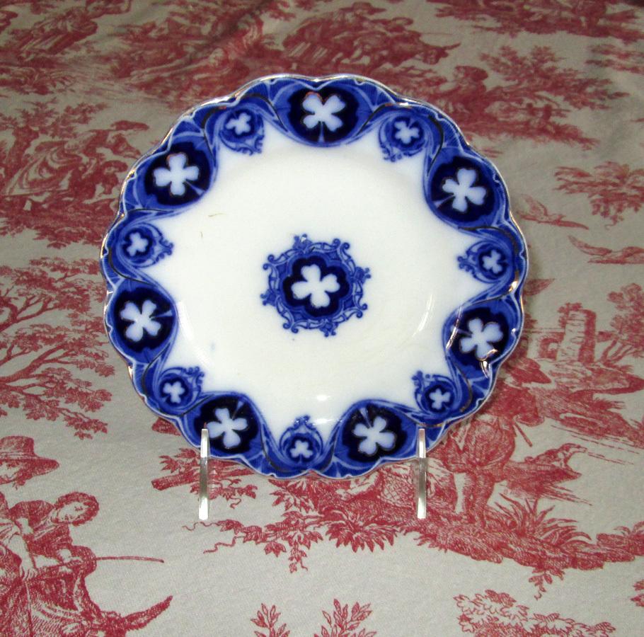 "Flow Blue Semi-Porcelain ""Savoy"" 7"" Dessert Plate"