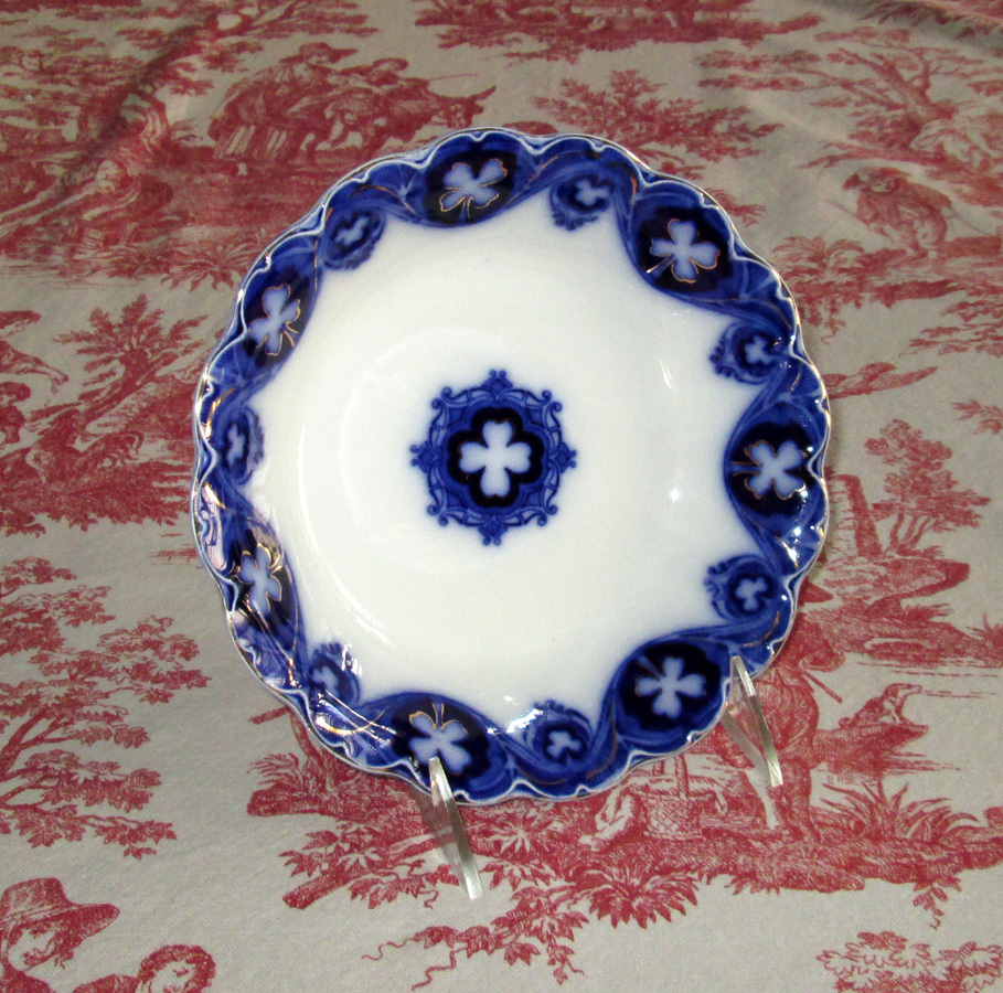 "Flow Blue Semi-Porcelain ""Savoy"" Soup Bowl"