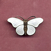"Sterling and White Enamel ""SK"" Butterfly Pin"