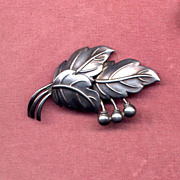 Denmark Sterling Modernist Leaf and Berry Pin