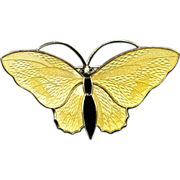 Norway Sterling Yellow and Black Butterfly Pin