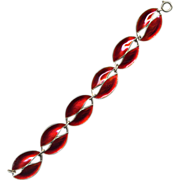 Denmark Sterling and Red Enamel Leaf Bracelet
