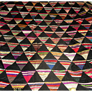 "Hand-Pieced Silk and Velvet ""Pyramids"" Quilt Top"