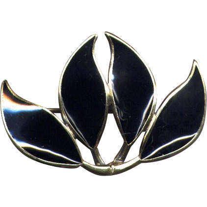Norway Sterling and Black Enamel D-A Leaf Pin