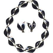 Norway Sterling Black Enamel D-A Necklace with Earrings