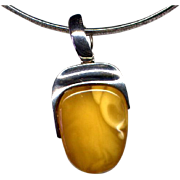 Butterscotch Amber Pendant in Sterling Silver